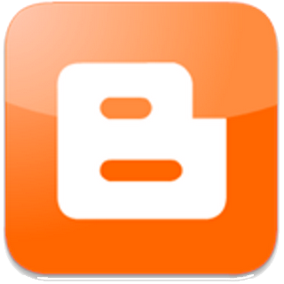 image of the Blogger logo, an orange square with a letter B in white