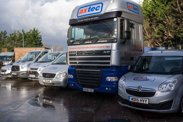 image of Axtec vehicles in front of our HQ