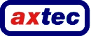 Axtec logo with the text of 'Axtec' 'ax' are in red, the rest are blue with the solid blue border